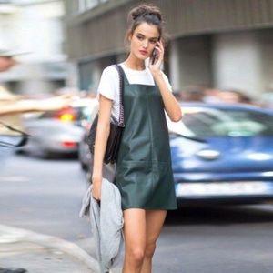 Zara Green Vegan Leather A-Line Mini Dress NWOT